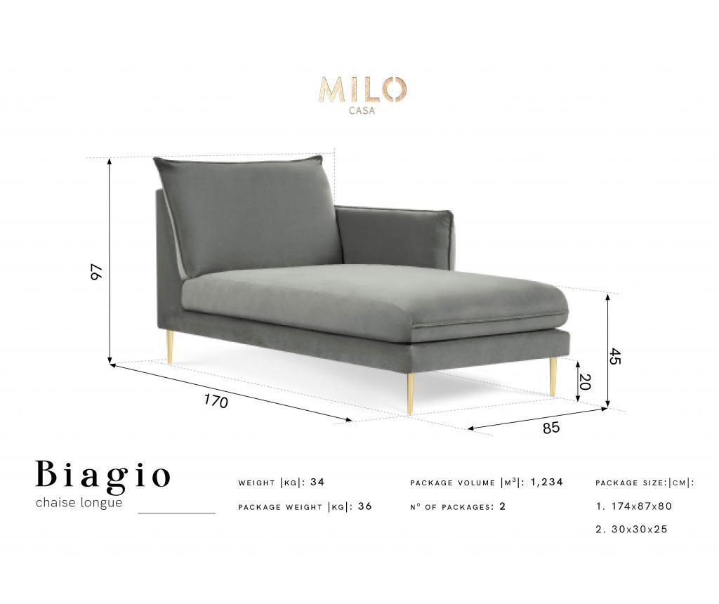 Sezlong living Biagio Light Grey