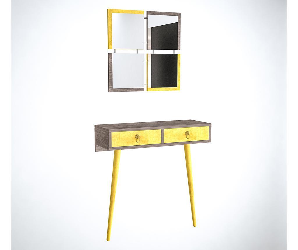 Set consola si 4 oglinzi Yellow