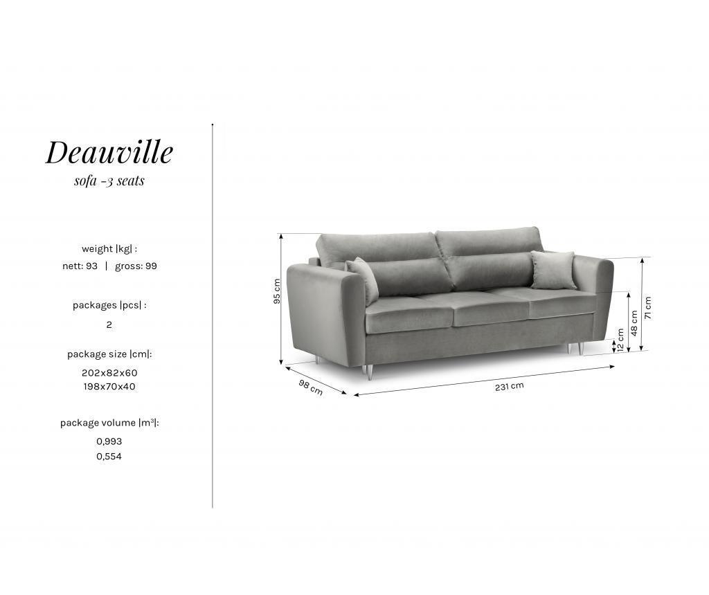 Canapea 3 locuri Deauville Pink