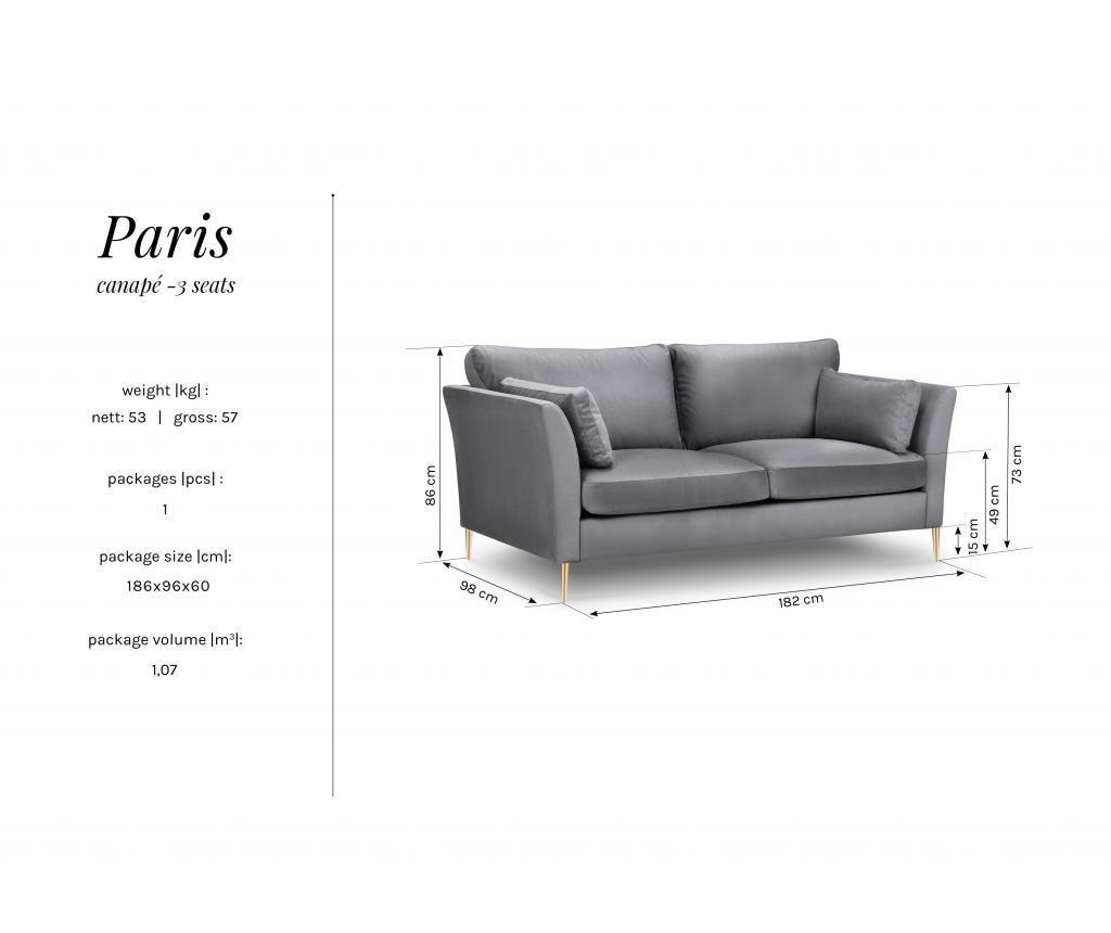 Canapea 3 locuri Paris Blue