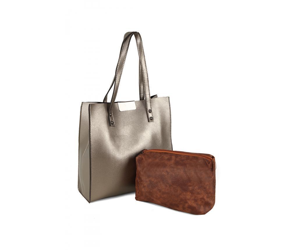 Set geanta si portfard Polonation Silver