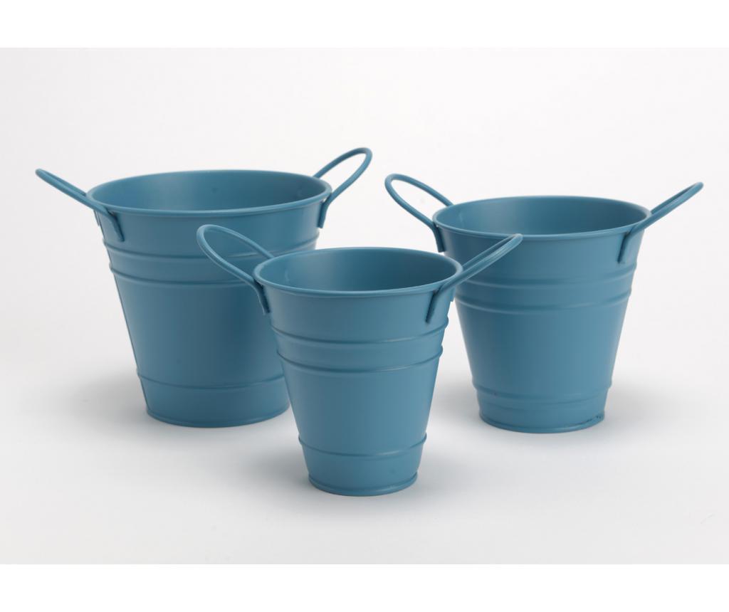 Set 3 ghivece Bucket Blue