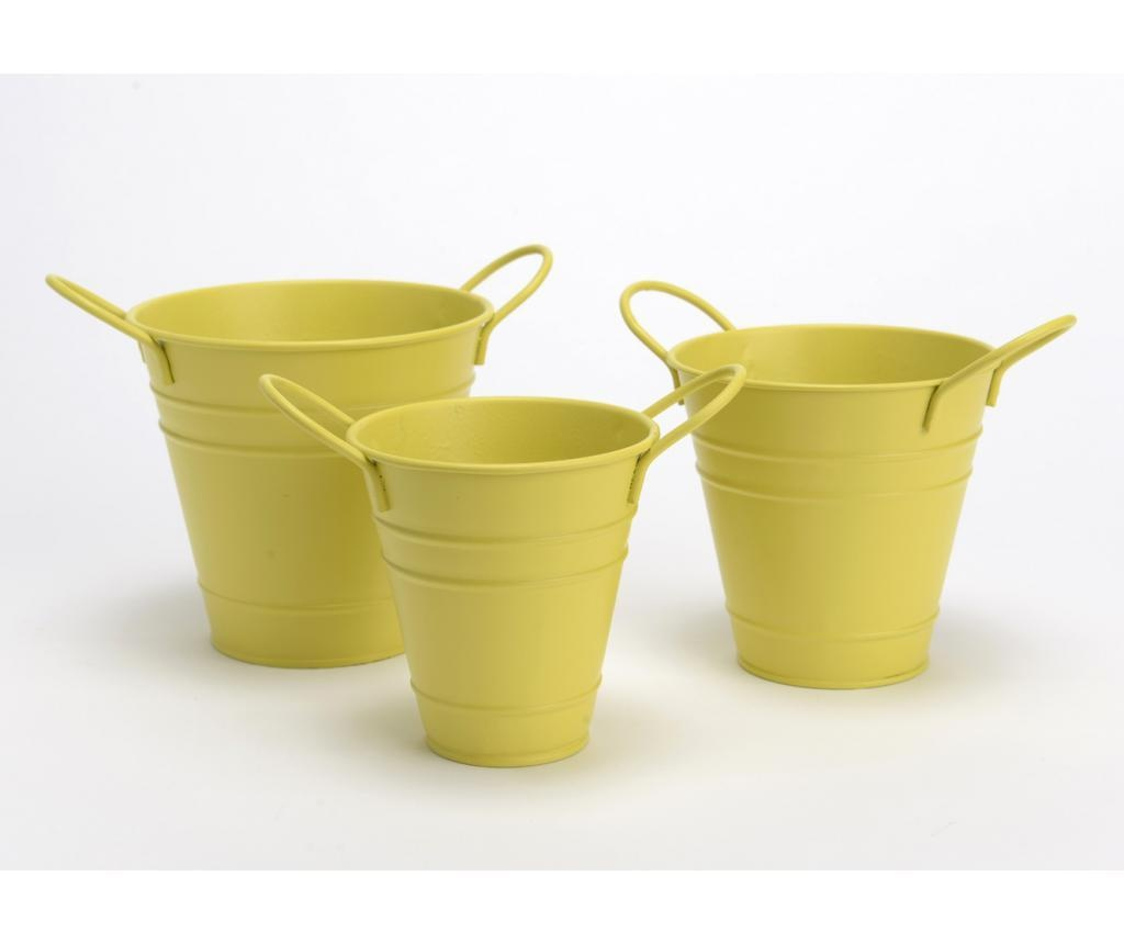 Set 3 ghivece Bucket Yellow