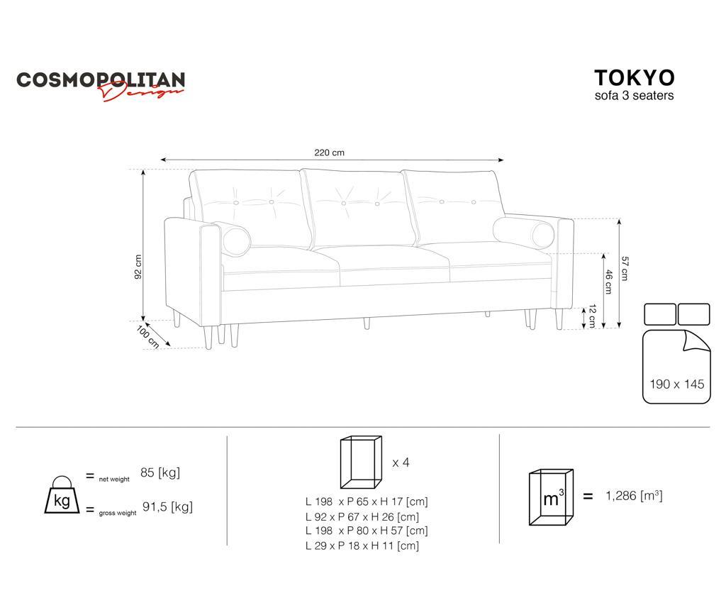 Trojmiestna rozkladacia pohovka Tokyo Green