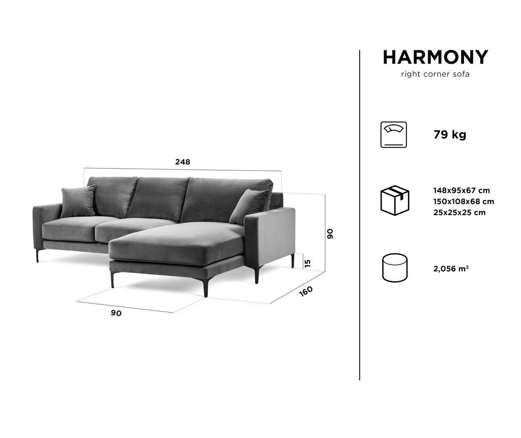 Prawostronny narożnik 4-osobowy Harmony Dark Grey