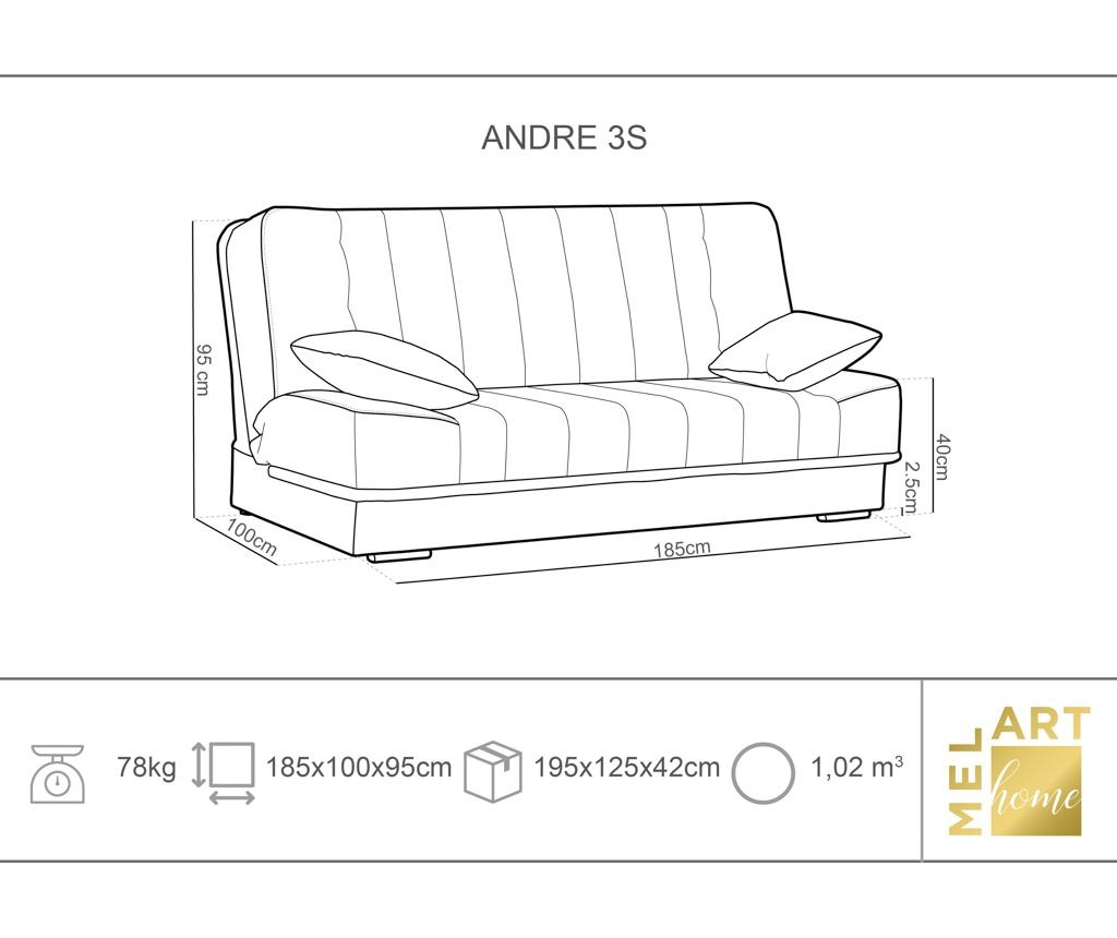 Kauč trosjed na razvlačenje Andre Navy Blue