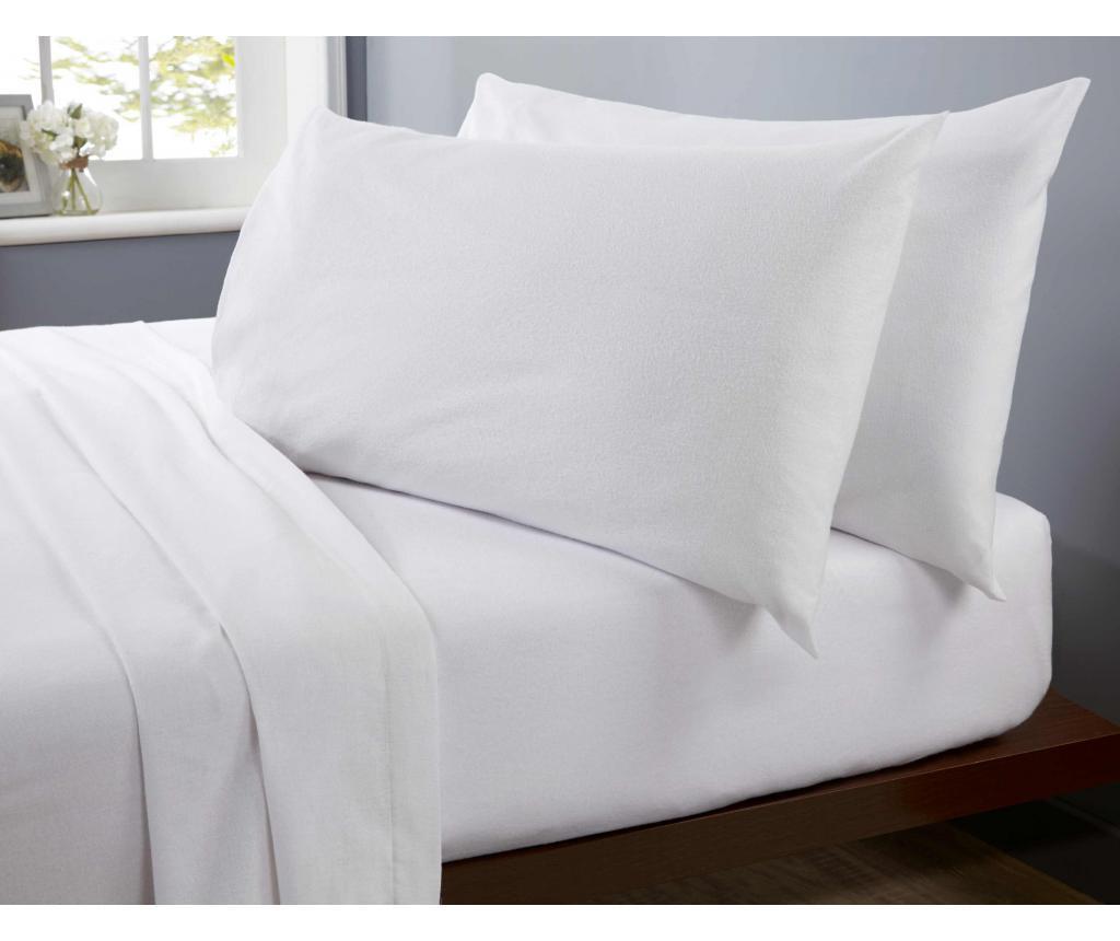 Cearsaf de pat cu elastic Single Flannelette White