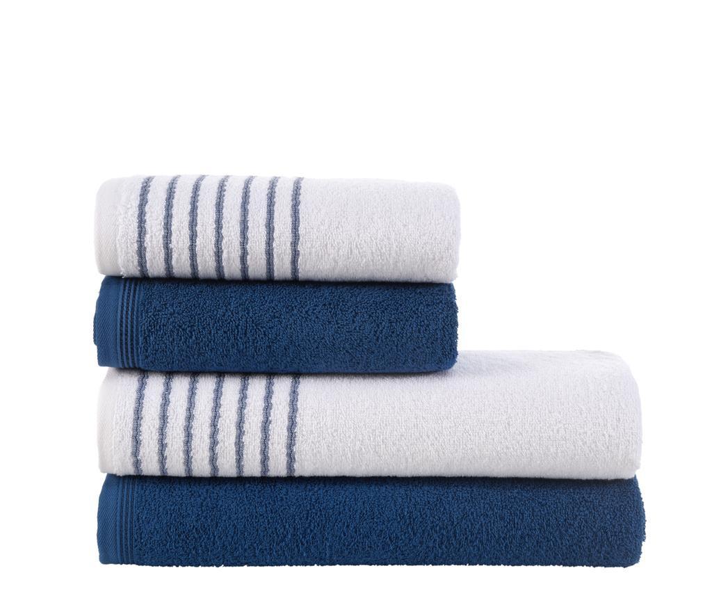 Set 4 ručnika Stripes Blue