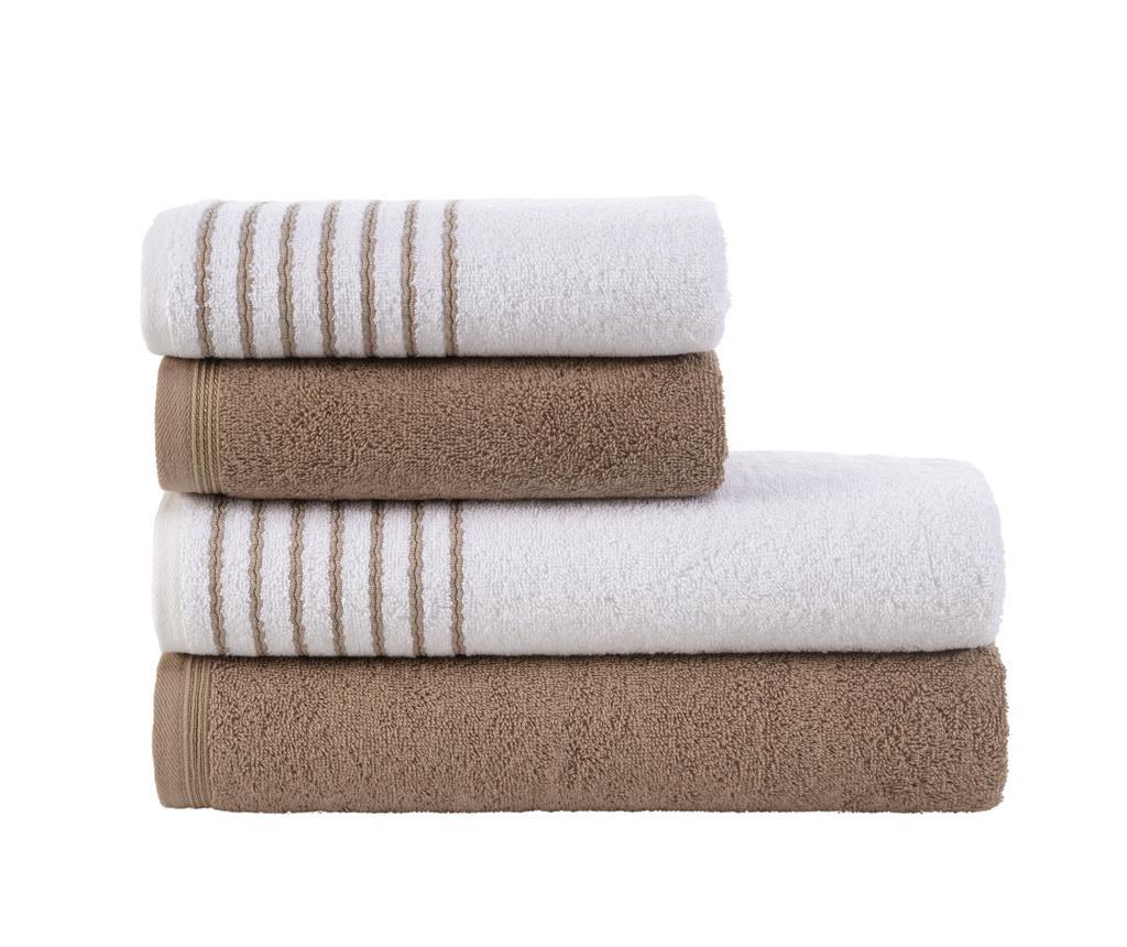Zestaw 4 ręczników Stripes Brown