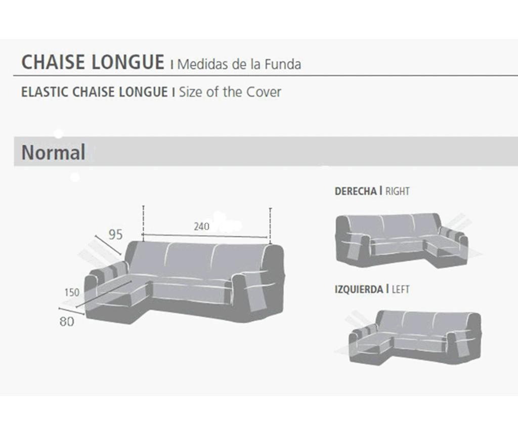 Husa pentru coltar dreapta Levante Grey 80x240 cm
