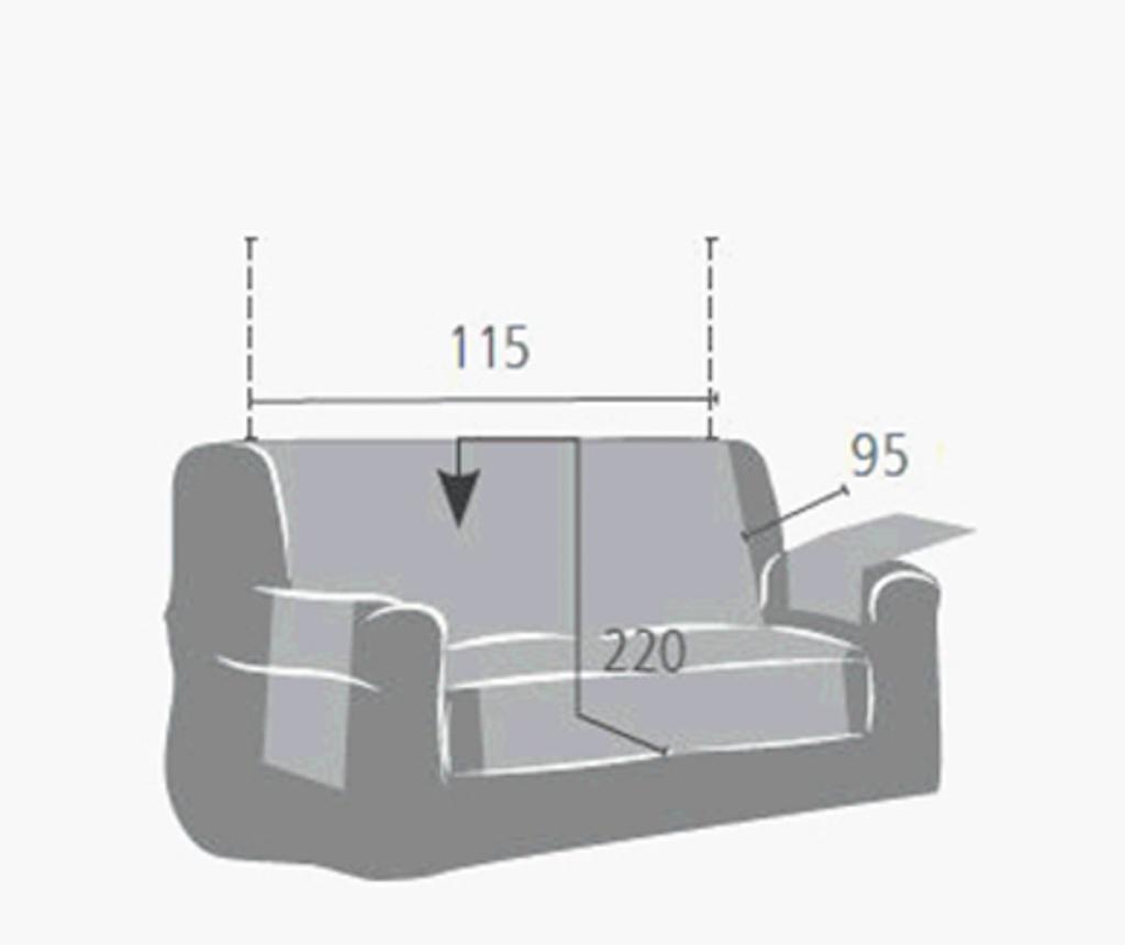 Pokrowiec na kanapę 2-osobową Levante Grey 115x95x220 cm