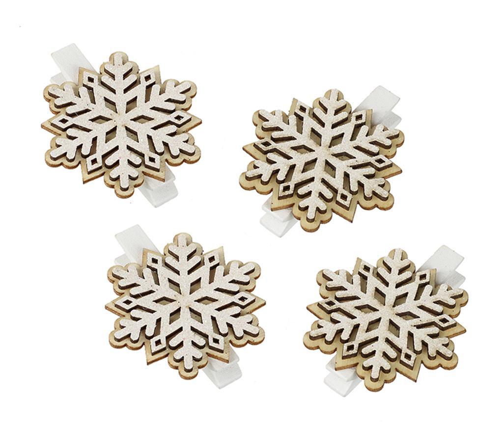 Sada 4 dekorací Snowflakes