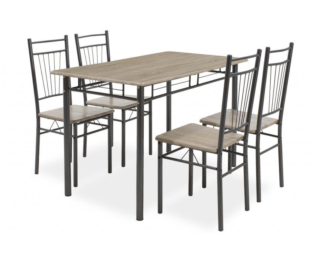Set stol i 4 stolica Roza Dark Grey