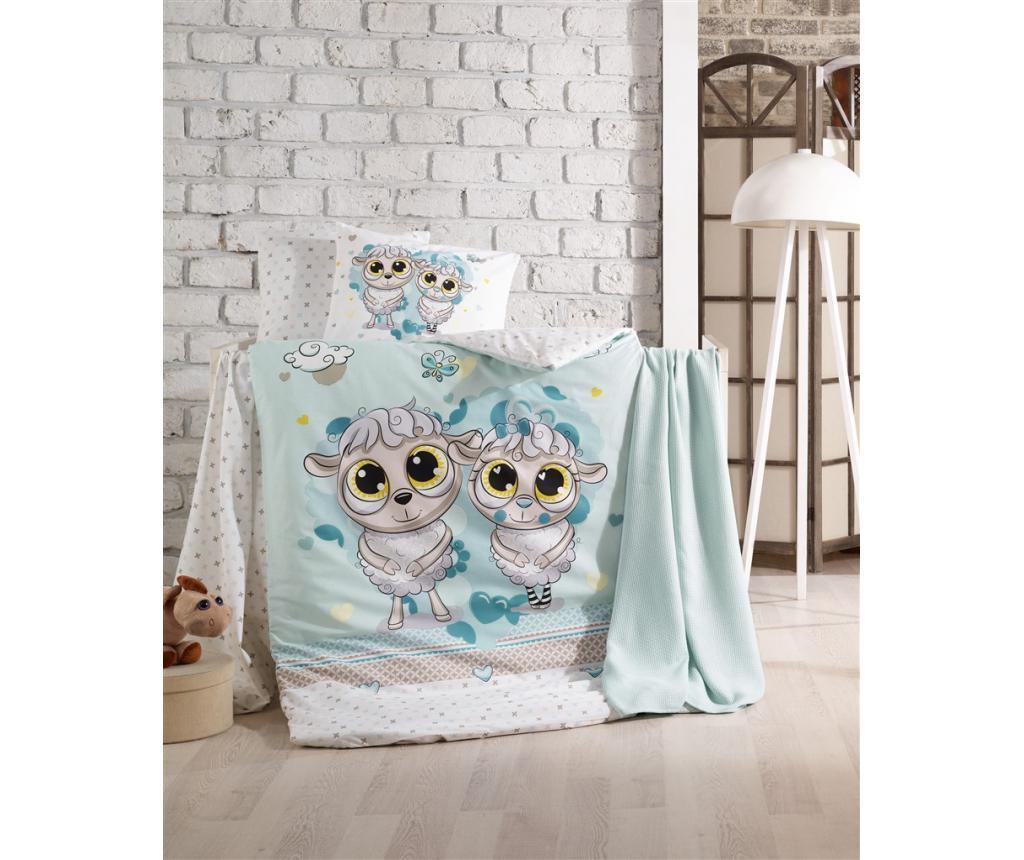 Posteljnina za otroško posteljico Happy Lambs Blue