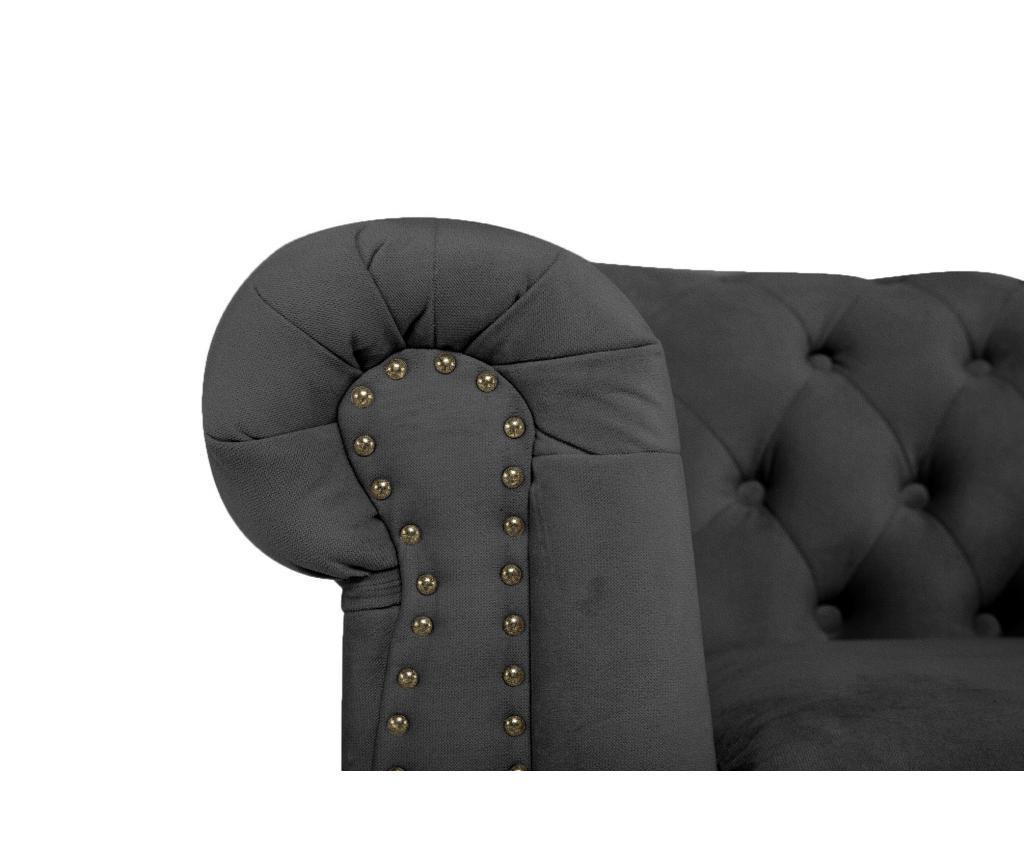Canapea 3 locuri Chesterfield Grey Velvet