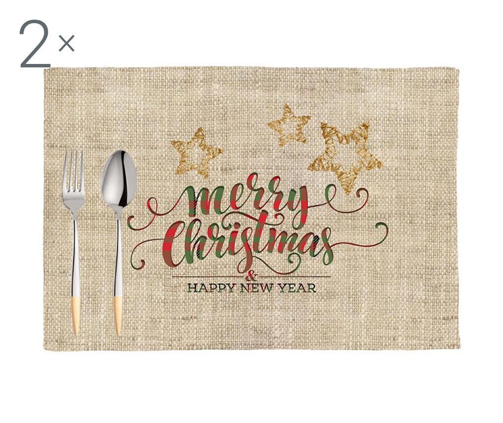 Set 2 podmetača Happy Christmas 33x45 cm