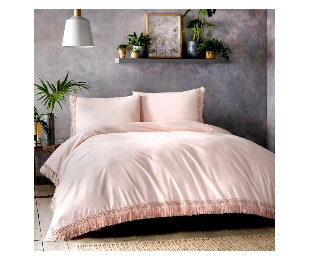 lenjerie pat dublu marime mare bumbac romanesti roz alb model frumoase
