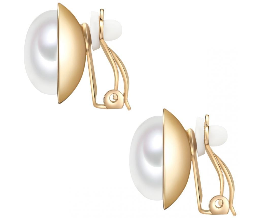 Cercei cu clips Shell Pearl White Yellow Gold