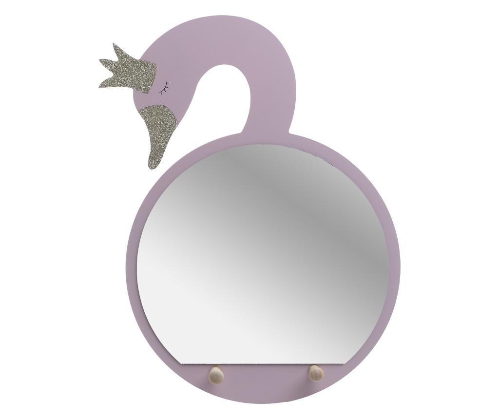 Wieszak z lustrem Swan Pink