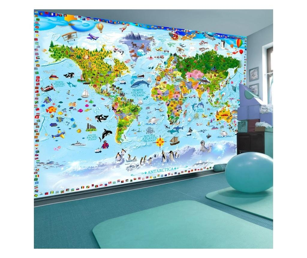 World Map For Kids Fotótapéta 210x300 cm