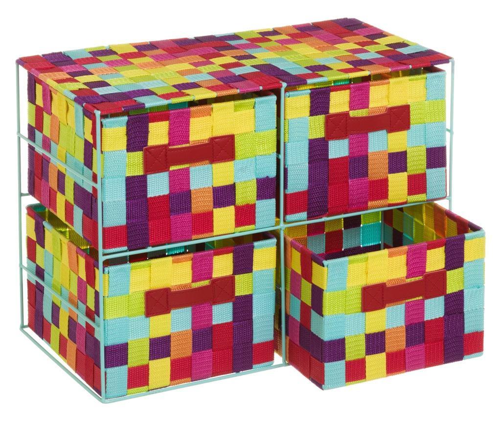 Shranjevalna enota s 4 košarami Plaited Multicolor