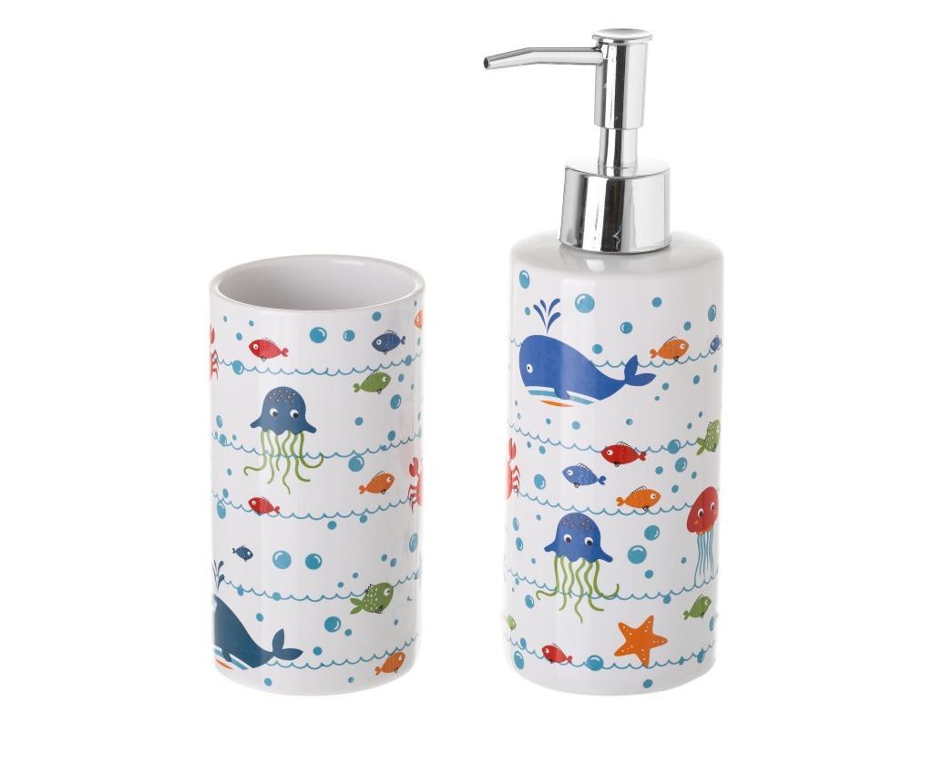 Set pahar de baie si dispenser sapun lichid
