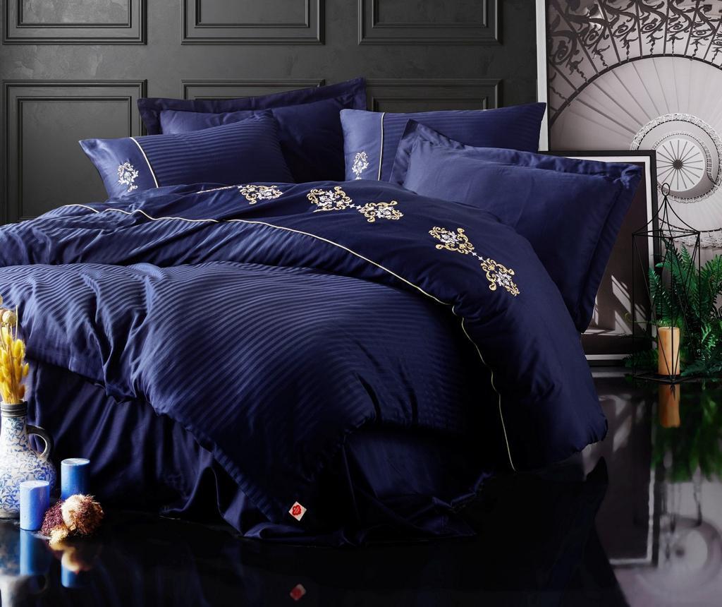 Σετ κλινοσκεπάσματα King Satin Supreme Premium Embroided Dark Blue
