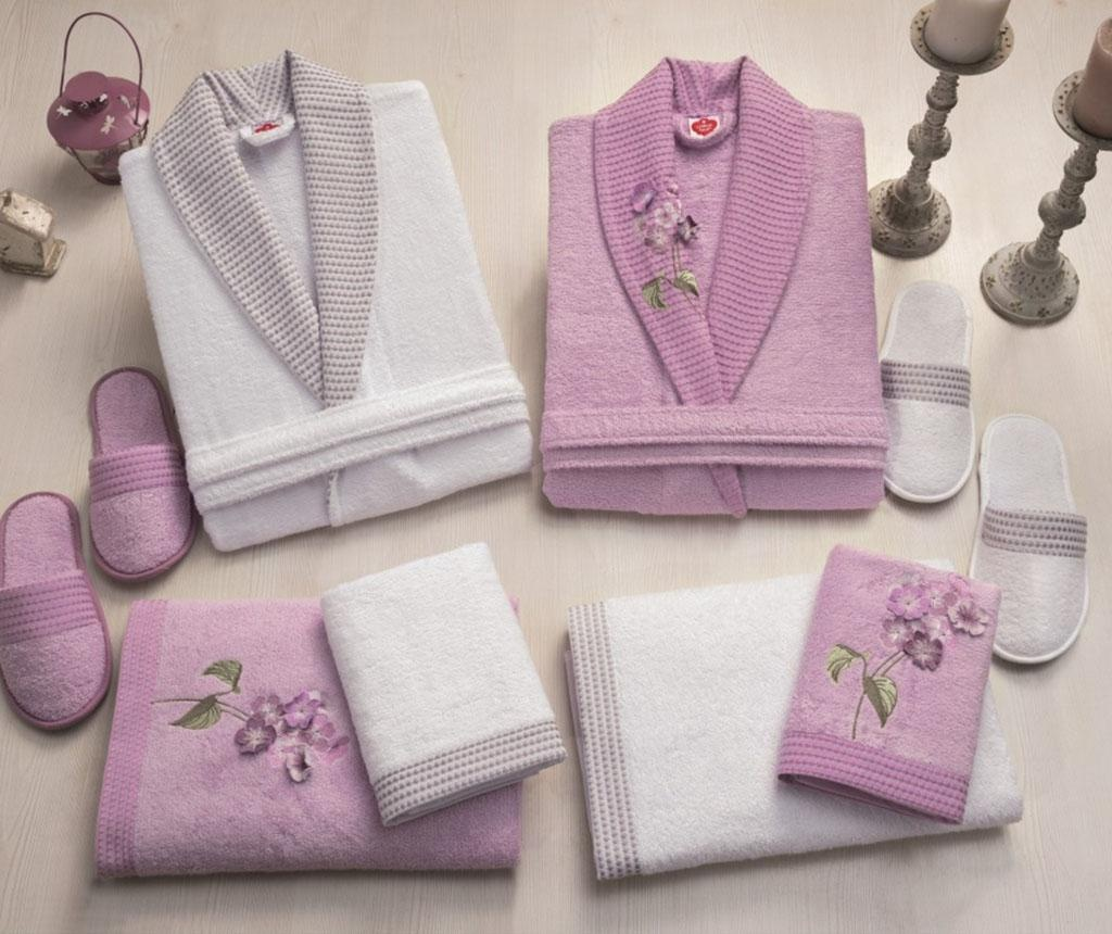 Set pentru baie 8 piese Family Flower Lilac & White