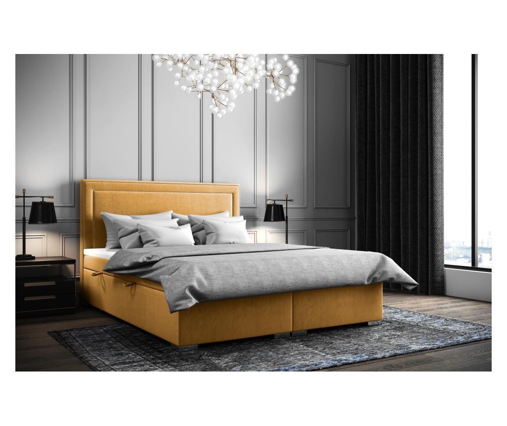 Annecy Mustard Boxspring ágy tárolóhellyel 140x200 cm