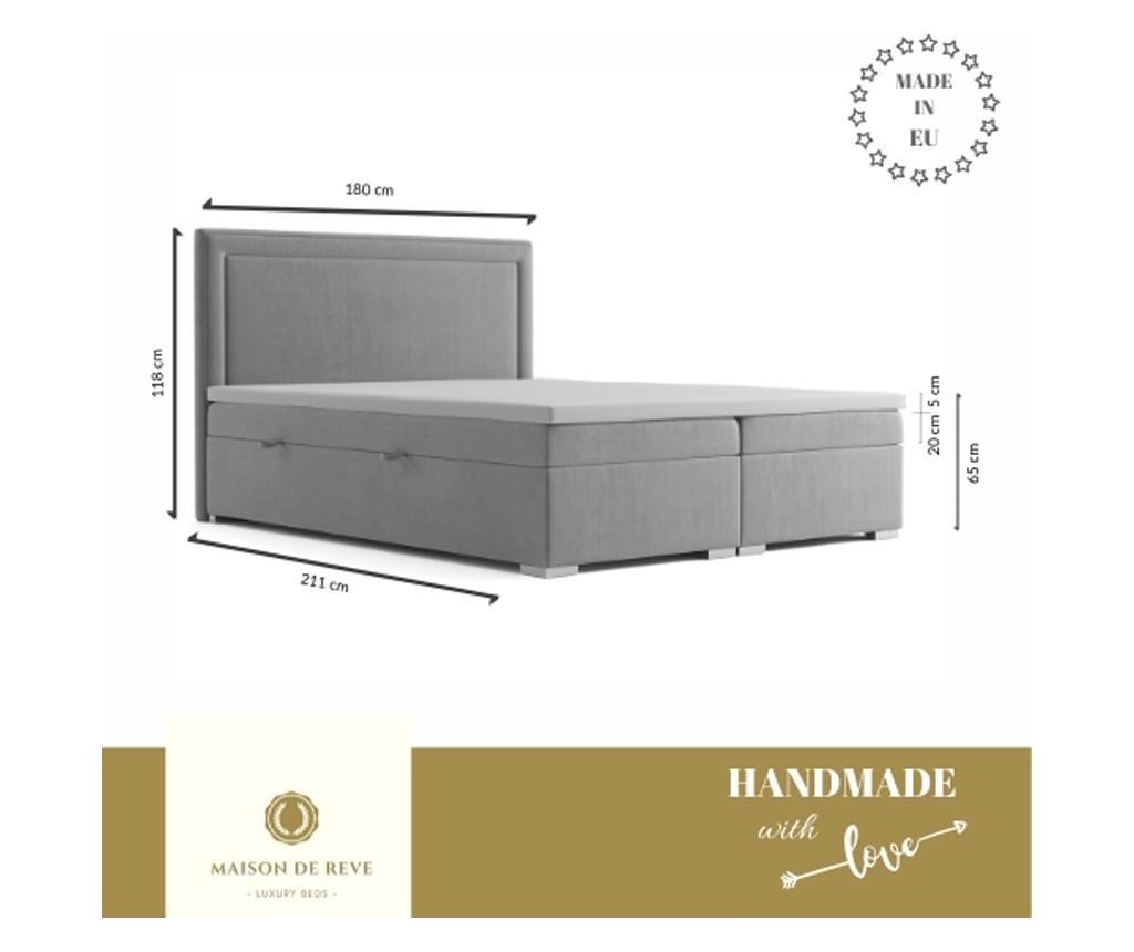 Łóżko kontynentalne ze schowkiem Annecy Dark Grey 180x200 cm