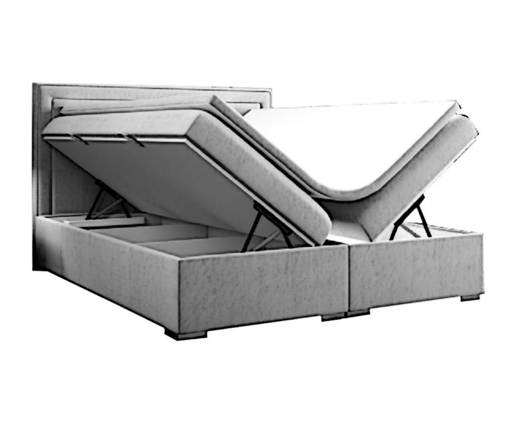 Pat boxspring cu spatiu pentru depozitare Annecy Beige 180x200 cm