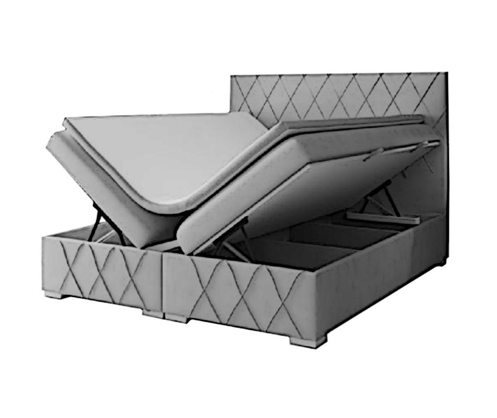 Nantes Dark Grey Boxspring ágy tárolóhellyel 160x200 cm
