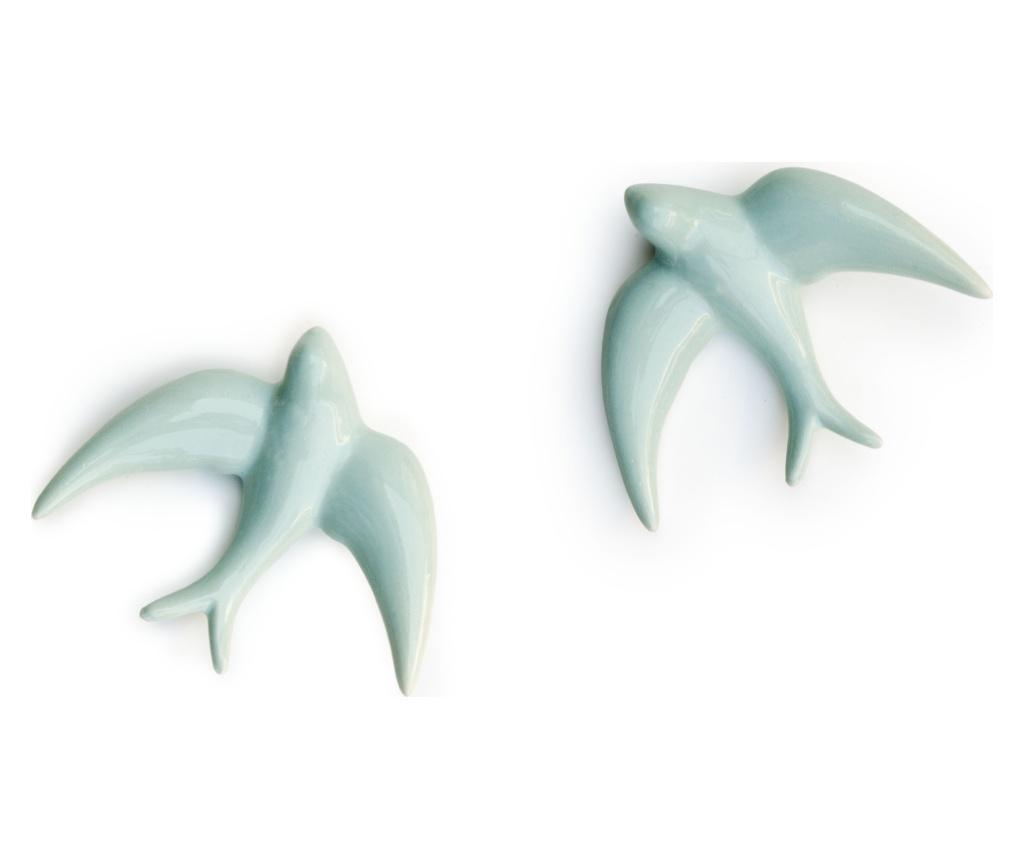 Set 2 decoratiuni de perete Swallows Blue