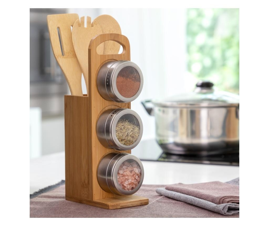 Set ustensile de bucatarie si suport 7 piese Magnetic Spice & Bamboo