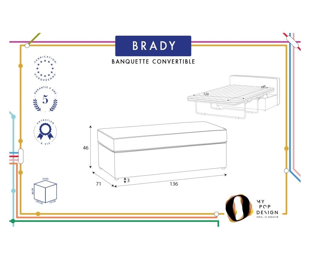 Bancheta extensibila Brady 130 Uni Cream