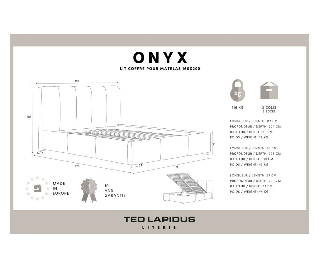 Легло с място за съхранение Onyx Marine Blue 160x200 см