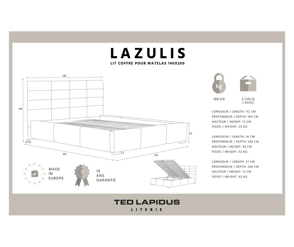 Lazulis White Ágy tárolódobozzal 140x200 cm