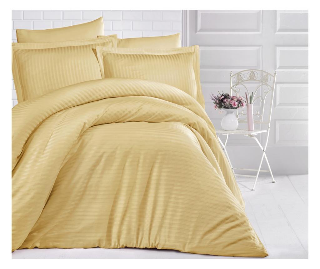Lenjerie de pat King Satin Uni Color Yellow