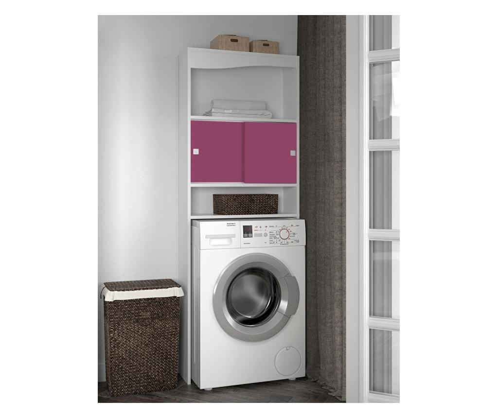 Dulap pentru baie Wave Laundry White and Fuschia