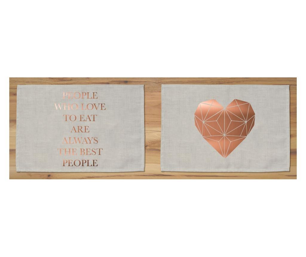 Set 2 podmetača Copper 30x45 cm