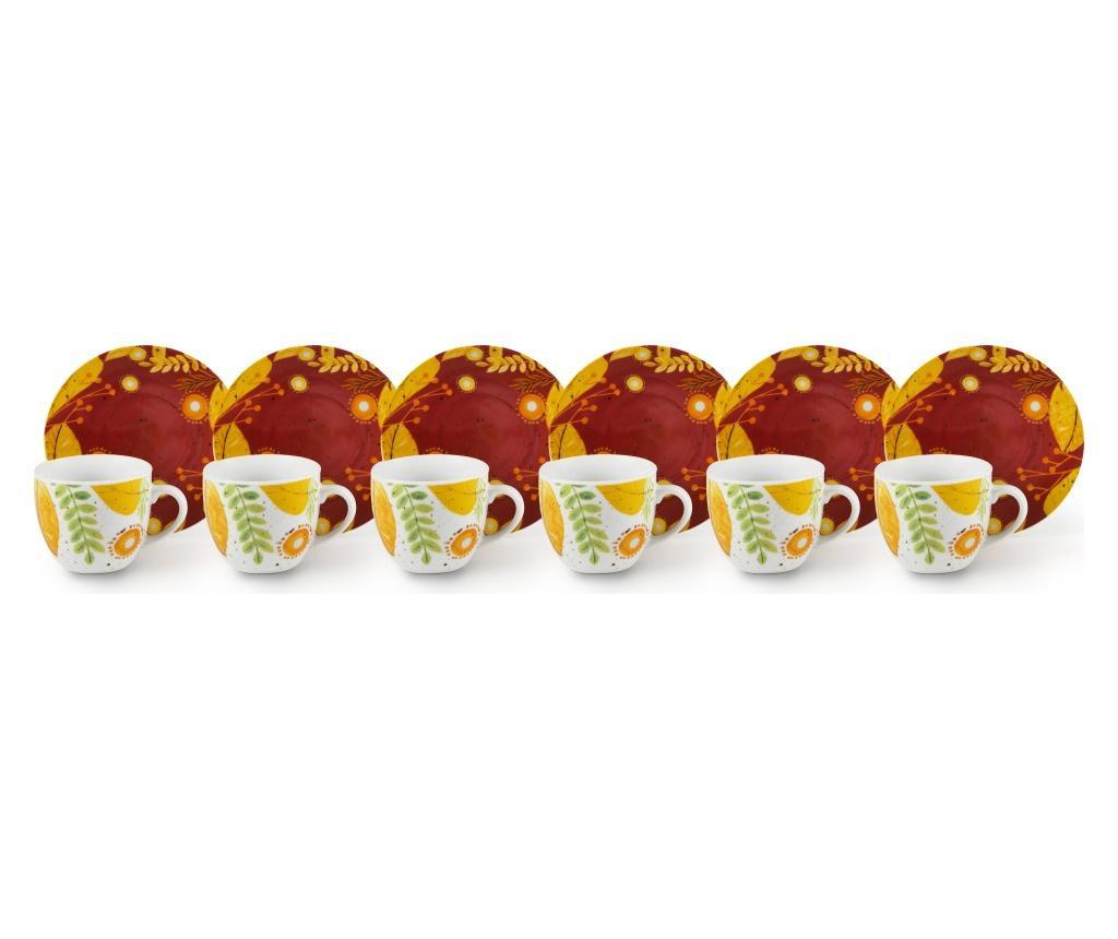 Set 6 cesti de cafea cu farfurioare Autumn Leaves 90 ml