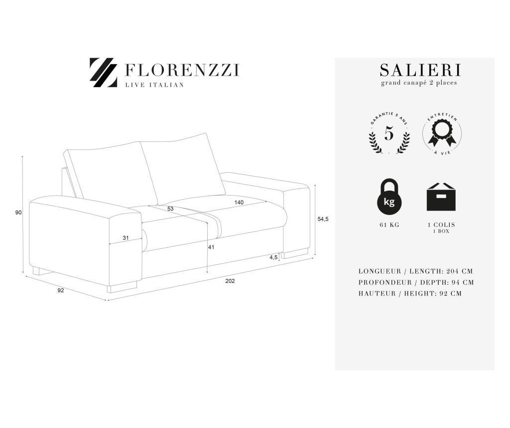 Kauč dvosjed Salieri Hazelnut Grand