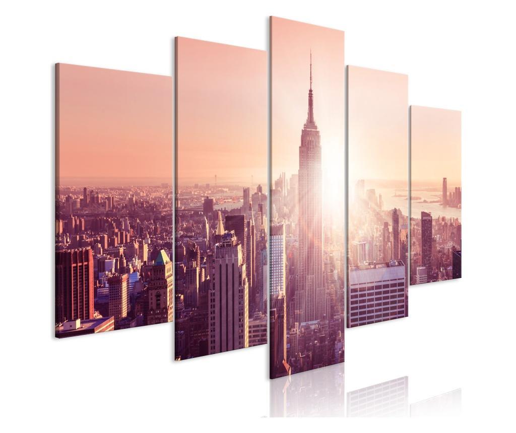 Set 5 tablouri Sun over Manhattan (5 Parts) Wide Orange 100x50