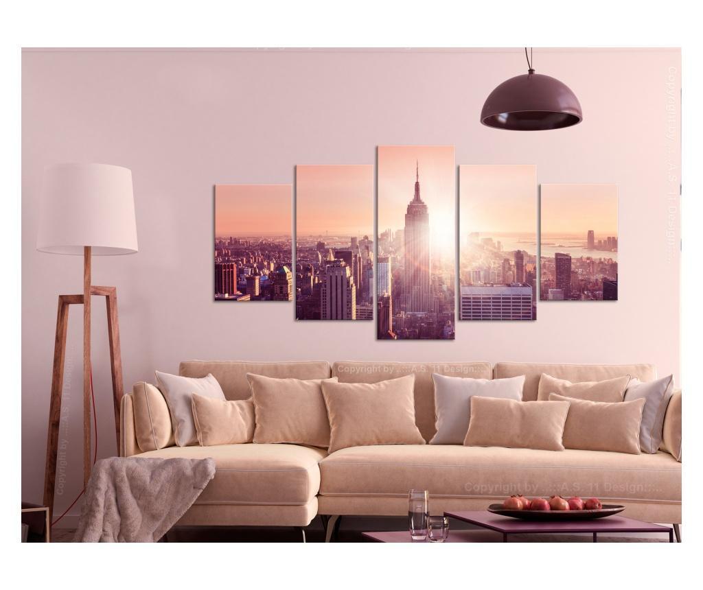 Set 5 tablouri Sun over Manhattan (5 Parts) Wide Orange 200x100