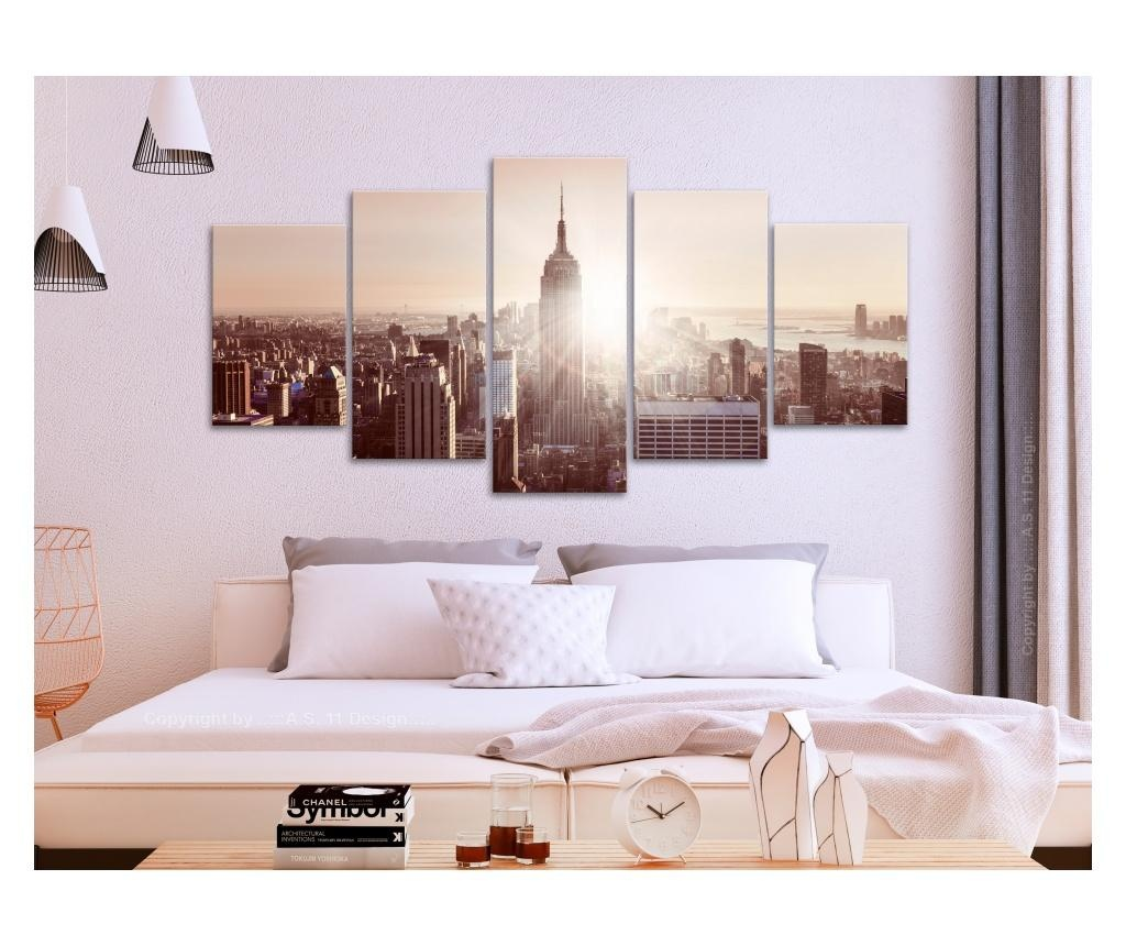 Set 5 tablouri Sun over Manhattan (5 Parts) Wide Brown 100x50