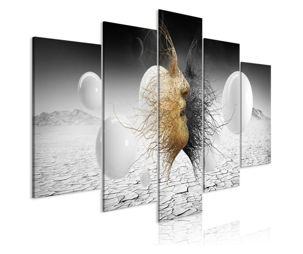 Set 5 tablouri Woven Faces (5 Parts) Wide Golden 100x50