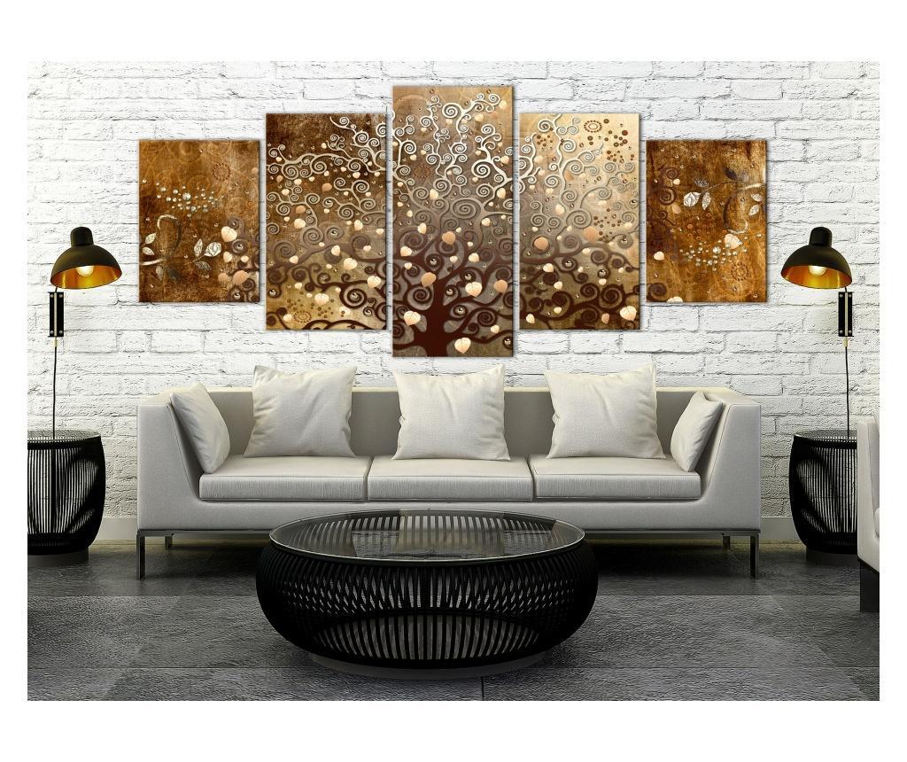 Set 5 tablouri Falling Leaves (5 Parts) Wide 225x100