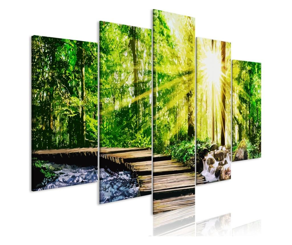 Set 5 tablouri Forest Footbridge (5 Parts) Wide 100x50