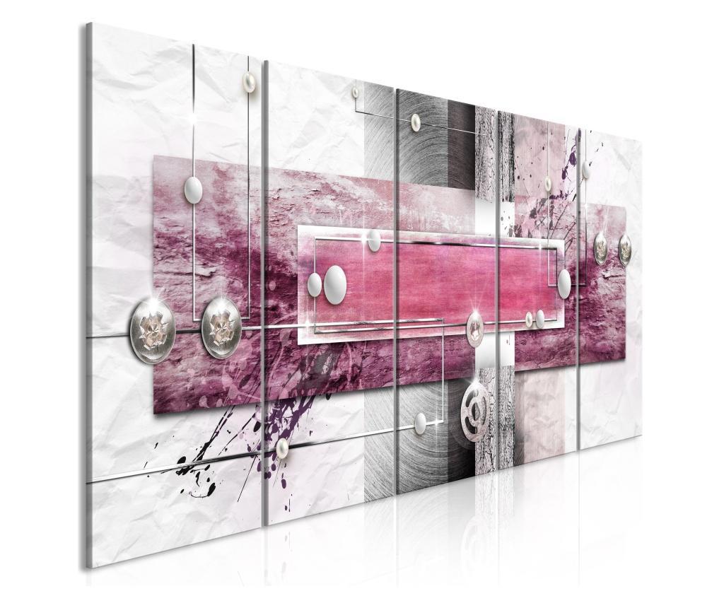 Set 5 tablouri Mysterious Mechanism (5 Parts) Narrow Pink 225x90