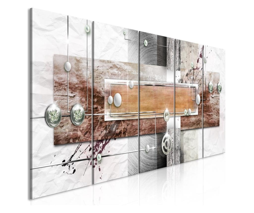 Set 5 tablouri Mysterious Mechanism (5 Parts) Narrow Brown 225x90